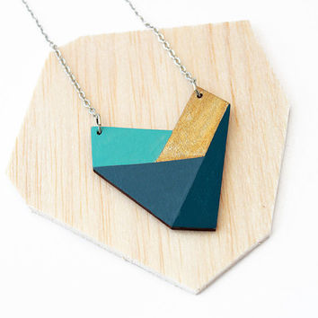 Geometric wooden heart shape necklace - dark blue, aqua blue, gold - minimalist, modern jewelry