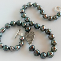 """Tahitian Black Pearl Necklace - Baroque Pearls & Sugar Skull Charm - Blue Green Peacock Large Pearls - 8.5 to 11 mm Saltwater Pearls - 19.5"""""""