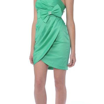 CLEARANCE - Short Green Cocktail Dress Tulip Skirt Strapless Bow Waist Wrap (Size XL)
