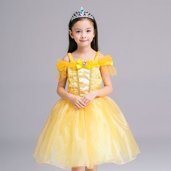 girl kid princess belle dress Beauty and the Beast  Halloween Costume 110-150cm child Girl birthday gift Costume Dress Cosplay
