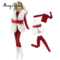 3Pcs/pack Doll Clothes Suit Christmas Outfits Plush Vest Tops Trousers w. Bow Belt For Barbie Doll 30cm