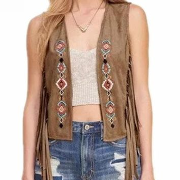 New Faux Suede Ethnic Embroidery Sleeveless Tassels Fringed Vest