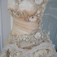 RESERVED for ASHLEY     Handmade Wedding Dress Lace Roses Rhinestones Size 12