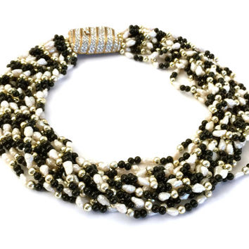 Ciner Multi Strand Torsade Necklace, 13 Strands Black and Gold Beads, Faux Fresh Water Pearls, Elaborate Rhinestone Clasp