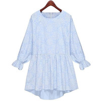 Women Fashion Mini Dress Floral Print Sexy Vestidos Autumn Winter Light Blue Color Casual Style = 1667676996