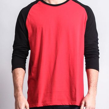 Men's Baseball T-Shirt TS900 (Red/Black) - B12C