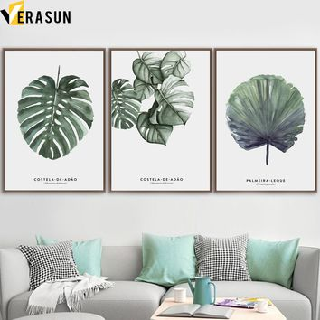 Watercolor Green Tropical Plants Leaves Wall Art Canvas Painting Nordic Posters And Prints Wall Pictures For Living Room Decor