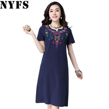 New Loose long Dress Summer dress Casual Plus Size Women Dress cotton Linen Embroidered V-collar Slim Vestidos Robe Dresses