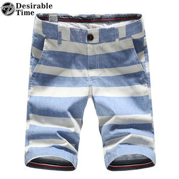 Summer Style Men Striped Hawaiian Shorts Slim Fit 100% Cotton Fashion Casual Men