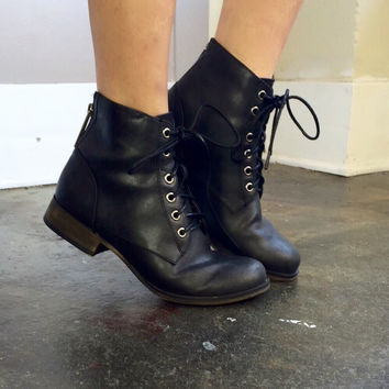 Black Lace Up Summer Bootie