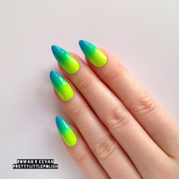 Neon Summer Ombre Gradient Stiletto nails, Nail designs, Nail art, Nails, Stiletto nails, Acrylic nails, Pointy nails, Fake nails