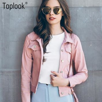 Toplook Pink Suede Jackets Women 2017 New Autumn Winter Long Sleeve Pockets Coat Single-breasted Fashion Jacket For Ladies