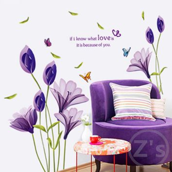 Home Decor DIY Purple Lily Flower Posters Living Room Decorative Wall Stickers Removable Waterproof Stickers LS