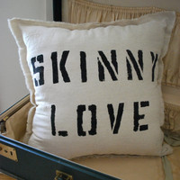 Natural Linen Skinny Love Throw Pillow by FrenchSilver on Etsy