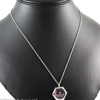 Gucci 925 Sterling Silver Hexagonal Pendant On Chain