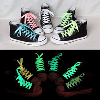Fluorescent Shoelaces Glow in the Dark Children Adult Party Christmas Gift Neon Colors Luminous Canvas Sport Shoes Sneaker