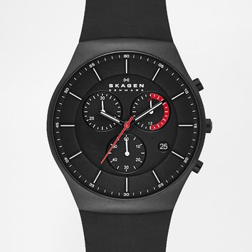 Skagen Chronograph Black Silicone Strap Watch