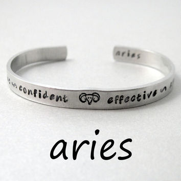 Zodiac Sign Bracelet - ARIES - 2-Sided Hand Stamped Aluminum Cuff - Gifts Under 20