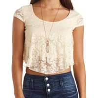 Cap Sleeve Swing Lace Crop Top by Charlotte Russe - Ivory