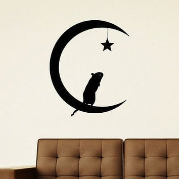 WALL DECAL VINYL STICKER MOUSE MOON AND STARS SYMBOL ETHNIC DECOR SB806