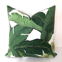 Decorative Designer Pillow Cover  - 18x18 or 20x20 inches - Tropical Palm Leaves - Accent Pillow - Toss Pillow - Throw Pillow