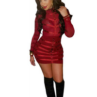 JRRY Long Sleeve Turtleneck Zippers Red  Bodycon Women Mini Beading Dresses Patchwork Beads club Dress Vestidos