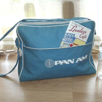 Vintage 60s PAN-AM Canvas Overnight Shoulder Bag Retro MOD Flight Carry On Stewardess Luggage Diaper Bag