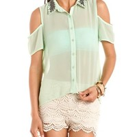 Beaded Collar Cold Shoulder Blouse: Charlotte Russe