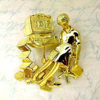 Vintage TGIF Brooch, Danecraft Gold Tone Working Woman at Computer Pin