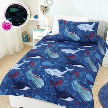 Glow In The Dark Whale of a Time Quilt Cover Set by Happy Kids - Manchester House