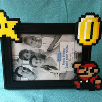 Mario Star and Coin Perler Picture Frame (5x7)  Frame