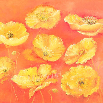 SALE ART Poppy Painting, Canvas Art, Yellow POPPIES, poppy art, flower paintings, yellow flowers, interior design, living room art, Etsy Art