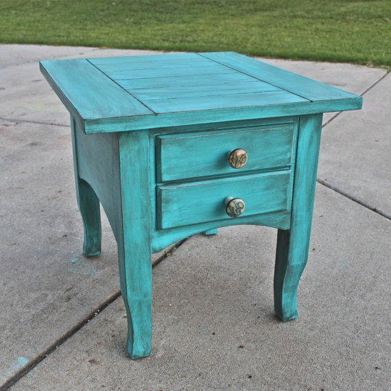 Cancun Blue Side End Table Distressed From Aquaxpressions On