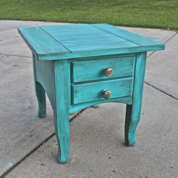 Gentil Cancun Blue Side, End Table /Distressed Glazed Furniture /Decora
