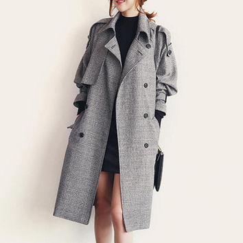 Grey Trench Coat For Women Fall And Winter Outfits Long Sleeve Waist Tide New 2016 Wear  Casaco Feminino