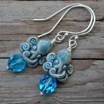 Octopus Earrings Ceramic Dangle Earrings Mermaid Jewelry Forged Silver Ceramic Octopus Ocean Earrings Handmade Artisan blue sterling silver