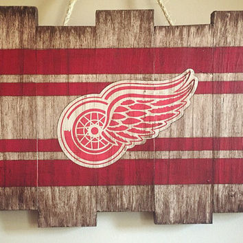 Detroit Red Wings Large Wooden Stained Decor; Hand Painted; Hockey; Mancave; Wood Sign; Wood Wall Art; NHL; Sports Room; Distressed; Rustic