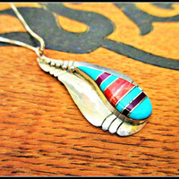 Sterling Pendant Turquoise Coral inlay Native American with Sterling Chain Italy  necklace