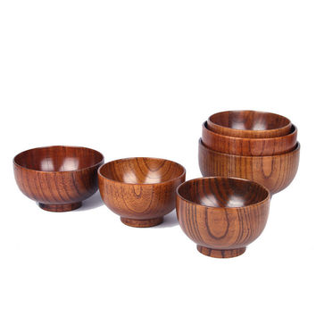 NEW 10-14cm Natural Jujube Wooden bowl soup rice Noodles bowls Kids lunch box kitchen tableware for baby feeding Children bowls