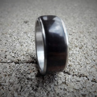 Stainless Steel ring with Macassar Ebony wood inlay men's size 9