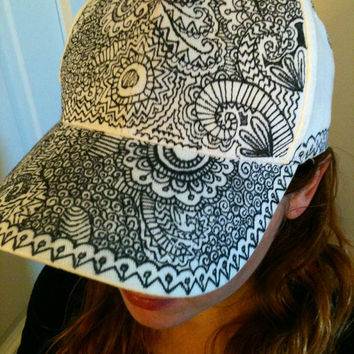 Flat Brim Hat Hand Drawn Hat Sharpie Hat Snapback Hat Snap Back Hat Doodle Hat Hand Painted Hat Festival Clothes Trippy Psychedelic Hippie