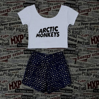 ARCTIC MONKEYS Print Womens White Crop Top Ladies Short Sleeve Stretch T Shirt Tee