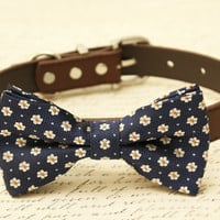 Navy dog bow tie - Pet Navy wedding, Floral bow tie