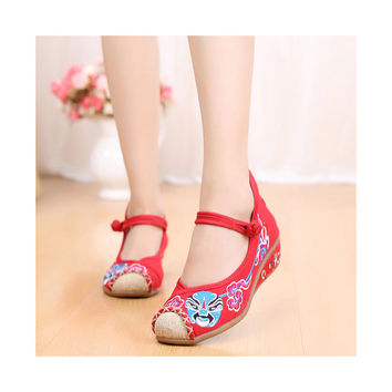 Red Old Beijing Cloth Shoes Online in National Slipsole Low Cut Style & Soft Inner Design
