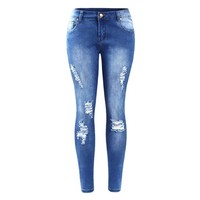 Faded Ripped Denim Skinny Jeans For Women