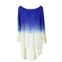 Women's Comfortable Lightweight Baggy Gradient Knit Pullover Sweater