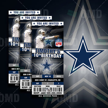 2.5x6 Dallas Cowboys Sports Party Invitation, Sports Tickets Invites, Football Birthday Theme Party Template