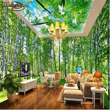 beibehang Countryside Birch Grove Space Whole House Backdrop mural wallpaper for living room photo murals wall paper 3d flooring