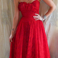 Vintage Lipstick Red Formal Bustier Dress… lace gown bridesmaid prom dance party new year indie goth free people corset 80s