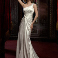 Beaded One-Shoulder Soft Charmeuse Gown - David's Bridal